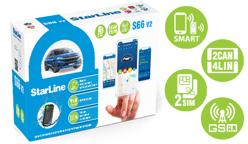 Автосигнализация StarLine S66 V2 BT 2CAN+4LIN 2SIM GSM